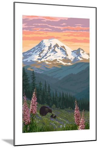 Bear Family and Spring Flowers (Rainier Background)-Lantern Press-Mounted Art Print
