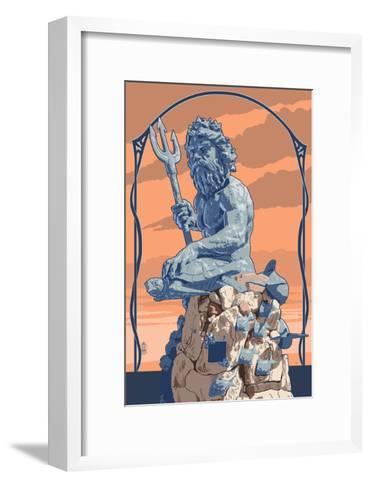 King Neptune Statue-Lantern Press-Framed Art Print