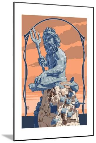 King Neptune Statue-Lantern Press-Mounted Art Print