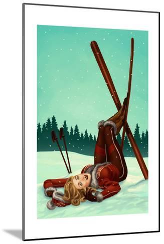 Ski Pinup-Lantern Press-Mounted Art Print