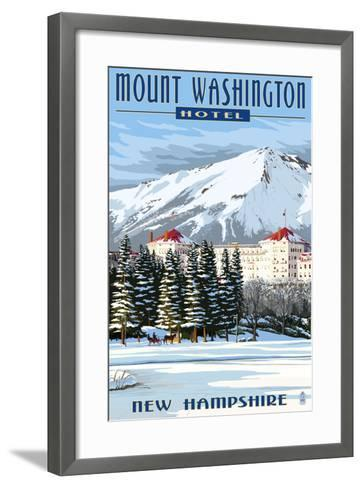 Mount Washington Hotel in Winter - Bretton Woods, New Hampshire-Lantern Press-Framed Art Print