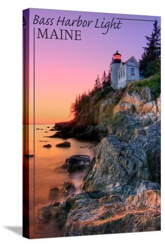 Maine - Bass Harbor Light-Lantern Press-Stretched Canvas Print