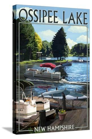 Ossipee Lake, New Hampshire - Pontoon Boats-Lantern Press-Stretched Canvas Print