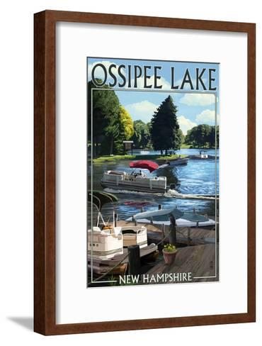 Ossipee Lake, New Hampshire - Pontoon Boats-Lantern Press-Framed Art Print