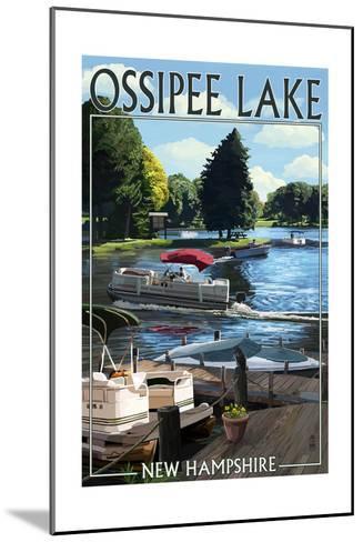 Ossipee Lake, New Hampshire - Pontoon Boats-Lantern Press-Mounted Art Print