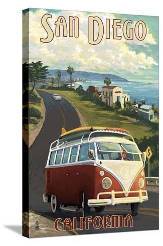 San Diego, California - VW Van Cruise-Lantern Press-Stretched Canvas Print