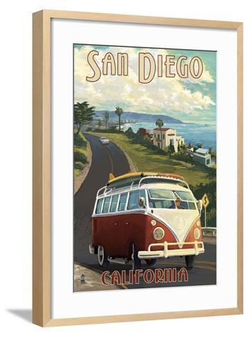 San Diego, California - VW Van Cruise-Lantern Press-Framed Art Print