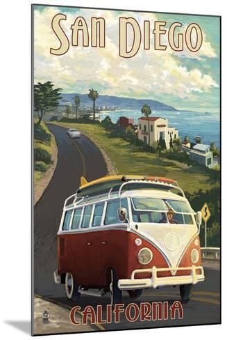 San Diego, California - VW Van Cruise-Lantern Press-Mounted Art Print