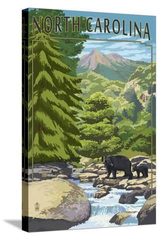 North Carolina - Bears and Creek-Lantern Press-Stretched Canvas Print