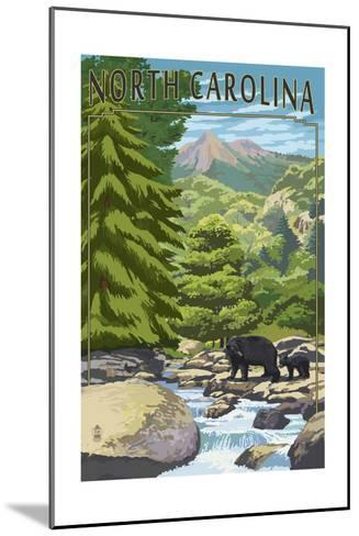 North Carolina - Bears and Creek-Lantern Press-Mounted Art Print