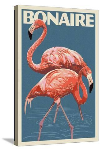 Bonaire, Dutch Caribbean - Flamingo-Lantern Press-Stretched Canvas Print