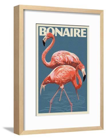 Bonaire, Dutch Caribbean - Flamingo-Lantern Press-Framed Art Print