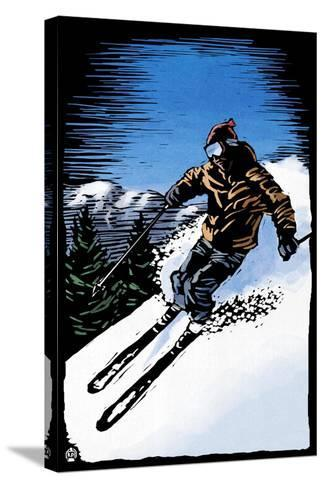 Downhill Skier - Scratchboard-Lantern Press-Stretched Canvas Print