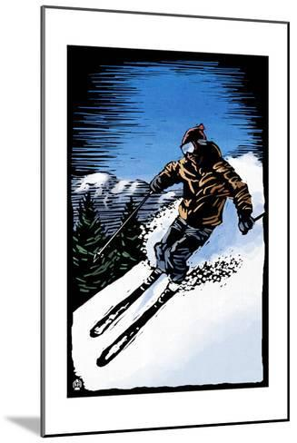 Downhill Skier - Scratchboard-Lantern Press-Mounted Art Print