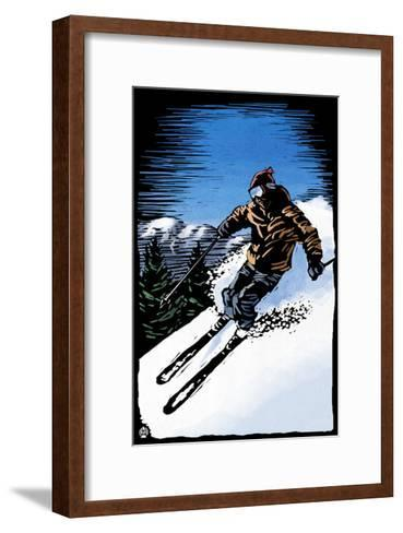 Downhill Skier - Scratchboard-Lantern Press-Framed Art Print