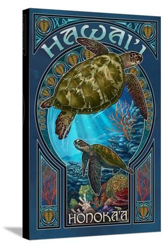Honoka'a, Hawaii - Sea Turtle Art Nouveau-Lantern Press-Stretched Canvas Print