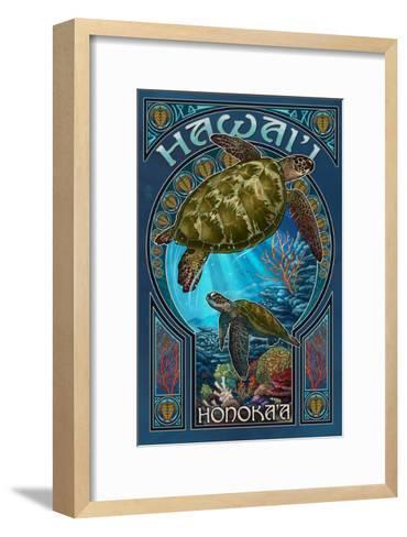 Honoka'a, Hawaii - Sea Turtle Art Nouveau-Lantern Press-Framed Art Print