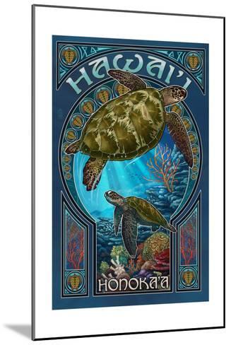 Honoka'a, Hawaii - Sea Turtle Art Nouveau-Lantern Press-Mounted Art Print
