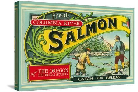 Oregon - Columbia River - the Oregon Historical Society Salmon Label-Lantern Press-Stretched Canvas Print