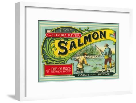 Oregon - Columbia River - the Oregon Historical Society Salmon Label-Lantern Press-Framed Art Print