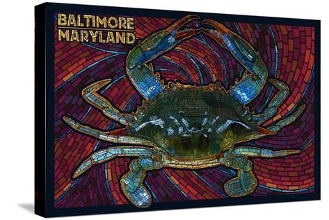 Baltimore, Maryland - Blue Crab Paper Mosaic-Lantern Press-Stretched Canvas Print