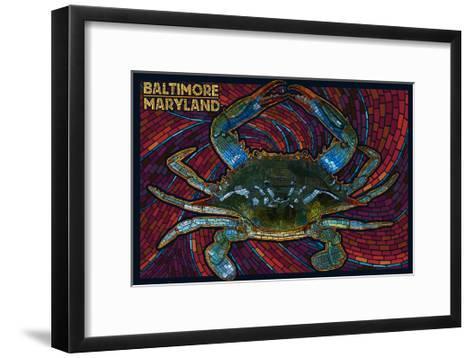 Baltimore, Maryland - Blue Crab Paper Mosaic-Lantern Press-Framed Art Print