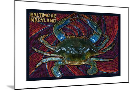Baltimore, Maryland - Blue Crab Paper Mosaic-Lantern Press-Mounted Art Print