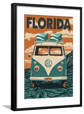 VW Van - Florida-Lantern Press-Framed Art Print