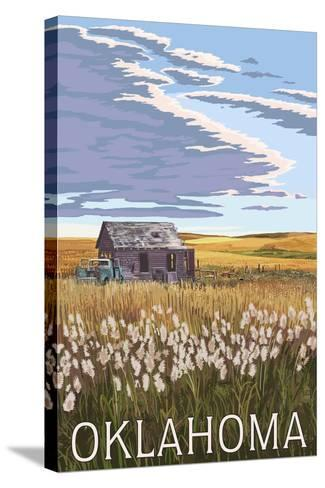 Oklahoma - Wheat Field and Shack-Lantern Press-Stretched Canvas Print