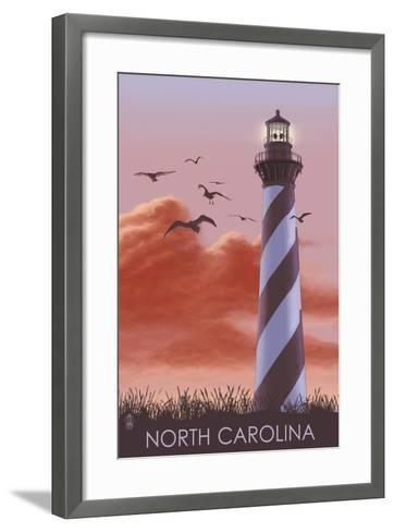 North Carolina - Lighthouse at Sunrise-Lantern Press-Framed Art Print