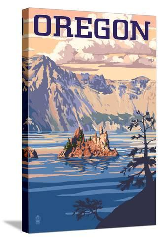 Oregon - Crater Lake-Lantern Press-Stretched Canvas Print