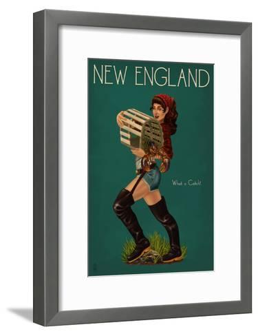New England - Lobster Fishing Pinup-Lantern Press-Framed Art Print