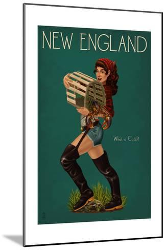 New England - Lobster Fishing Pinup-Lantern Press-Mounted Art Print