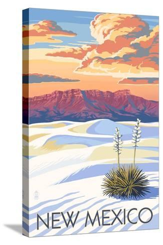 New Mexico - White Sands Sunset-Lantern Press-Stretched Canvas Print