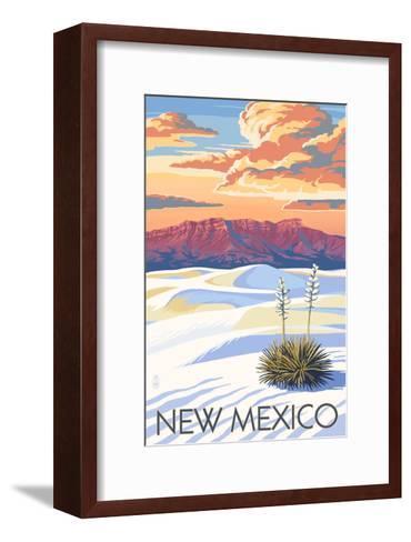 New Mexico - White Sands Sunset-Lantern Press-Framed Art Print