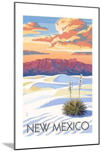 New Mexico - White Sands Sunset-Lantern Press-Mounted Art Print