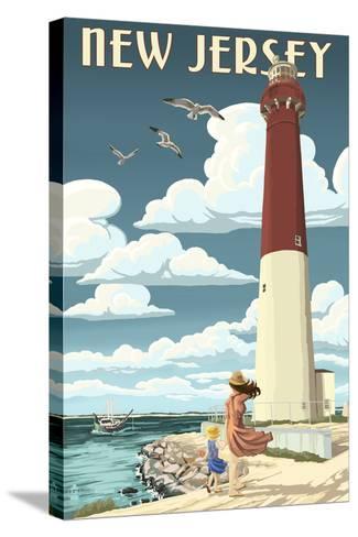 New Jersey - Lighthouse Scene-Lantern Press-Stretched Canvas Print
