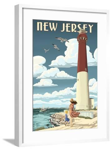 New Jersey - Lighthouse Scene-Lantern Press-Framed Art Print
