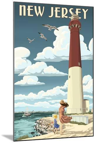 New Jersey - Lighthouse Scene-Lantern Press-Mounted Art Print