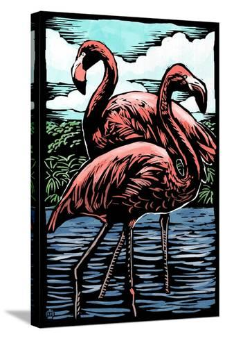Flamingos - Scratchboard-Lantern Press-Stretched Canvas Print