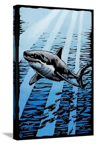 Great White Shark - Scratchboard-Lantern Press-Stretched Canvas Print