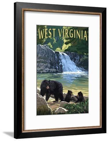 West Virginia - Waterfall and Bears-Lantern Press-Framed Art Print