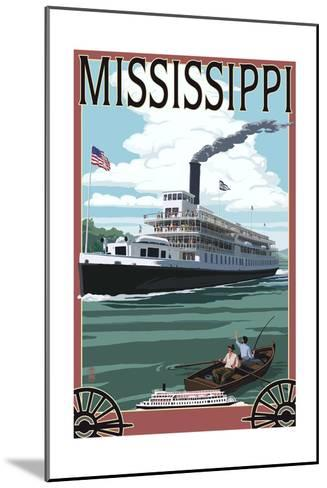 Mississippi - Riverboat and Rowboat-Lantern Press-Mounted Art Print