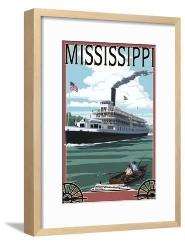 Mississippi - Riverboat and Rowboat-Lantern Press-Framed Art Print
