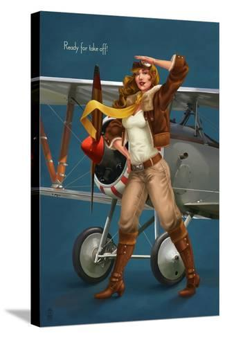 Pinup Girl Aviator - Ready for Take Off!-Lantern Press-Stretched Canvas Print