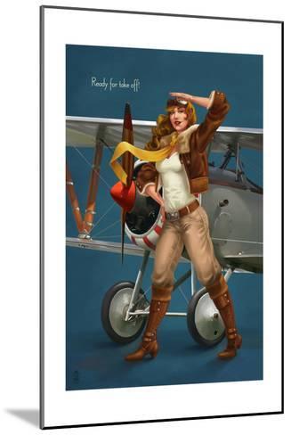 Pinup Girl Aviator - Ready for Take Off!-Lantern Press-Mounted Art Print