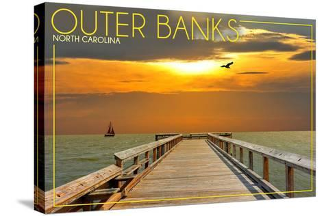 Outer Banks, North Carolina - Ocean and Sunset-Lantern Press-Stretched Canvas Print