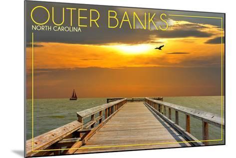 Outer Banks, North Carolina - Ocean and Sunset-Lantern Press-Mounted Art Print