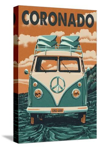 Coronado, California - VW Van-Lantern Press-Stretched Canvas Print