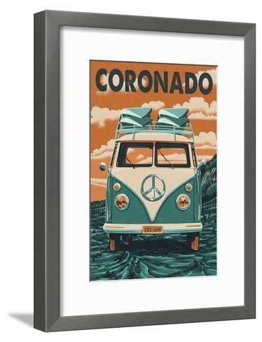 Coronado, California - VW Van-Lantern Press-Framed Art Print